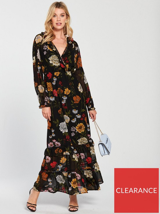 10e1489aeea V by Very Printed Wrap Casual Maxi Dress - Floral Print