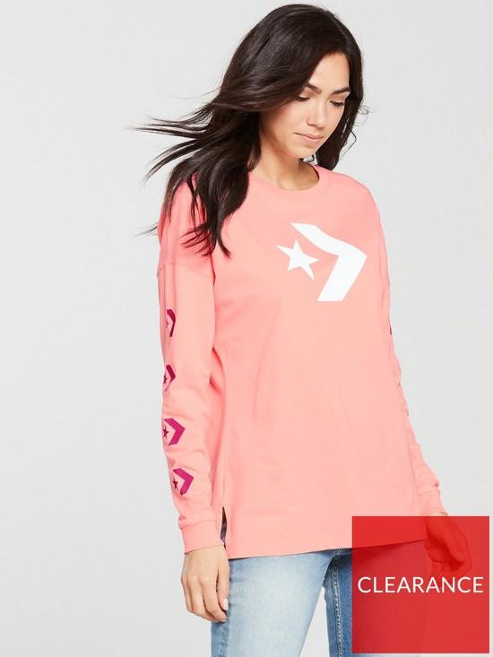 b87d201c1fa1 Converse Star Chevron Long Sleeve Tee - Pink