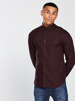 fred-perry-mens-classic-long-sleeve-oxford-shirt-deep-mahogany