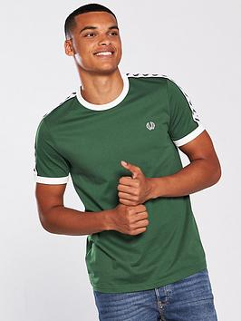 fred-perry-mens-taped-ringer-t-shirt-tartan-green