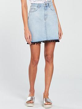 v-by-very-pom-pom-denim-skirt-light-wash