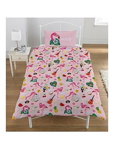 emoji-flamingo-single-duvet-cover-set