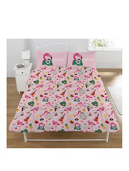 emoji-flamingo-double-duvet-cover-set