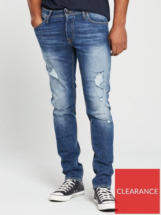 37da53e5 Jack & Jones Jack & Jones Intelligence Slim Fit Rip & Repair Glenn Jeans