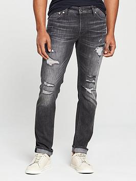 Jack & Jones Intelligence Slim Fit Rip & Repair Glenn Jeans