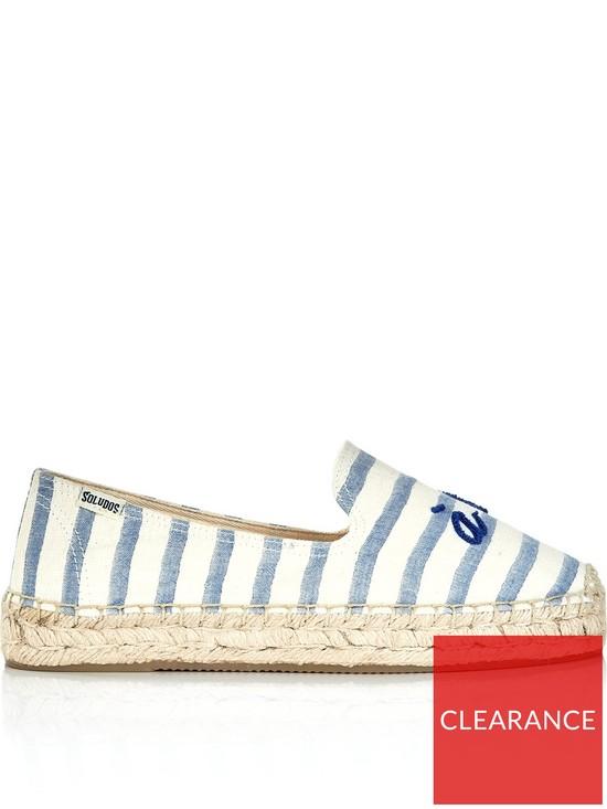 535b8644c SOLUDOS A La Plage Smoking Slipper Flats - Blue/Cream | very.co.uk