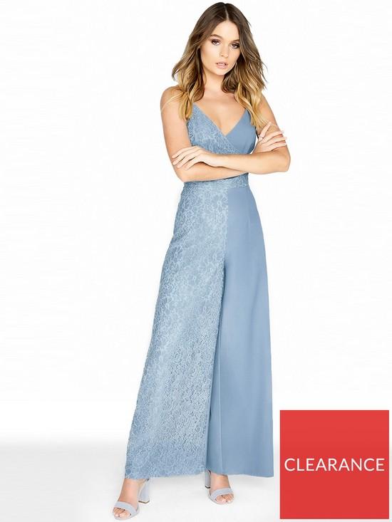 5a597c5717 Little Mistress Lace Strappy Jumpsuit - Dusty Blue