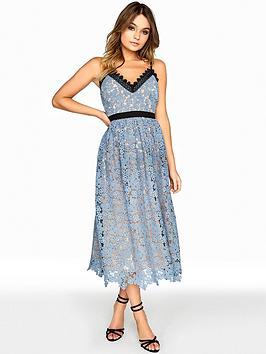 Little Mistress Crochet Trim Midi Dress - Dusty Blue