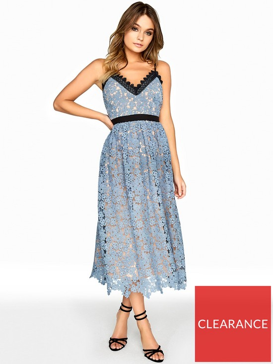 778f5f72fc30 Little Mistress Crochet Trim Midi Dress - Dusty Blue
