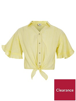 river-island-yellow-stripe-tie-front-crop-top