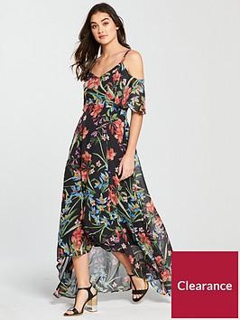 v-by-very-floral-cold-shoulder-maxi-dress-black