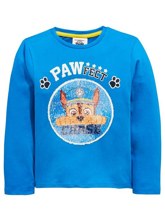 844355a8 Paw Patrol Boys Reversible Sequin Chase & Marshall Long Sleeve Tshirt