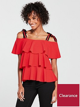 v-by-very-tiered-gro-grain-strap-top-red