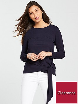 v-by-very-tie-side-long-sleeve-top-navy