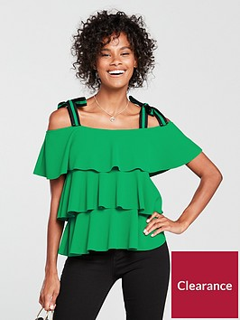 v-by-very-tiered-gro-grain-strap-top-green
