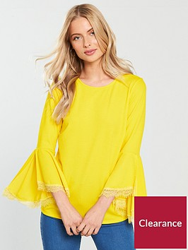 v-by-very-frill-sleeve-lace-insert-top-yellownbsp