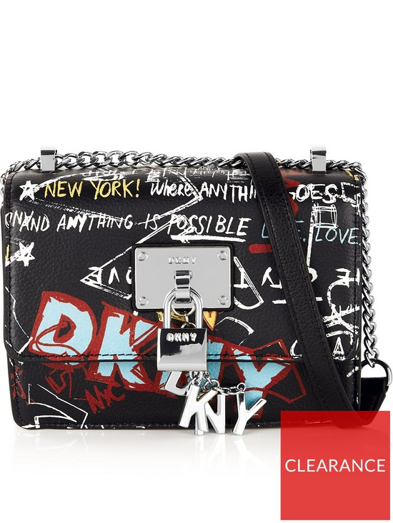 a9746bc98 DKNY Elissa Flap Cross-Body Bag - Black/Silver | very.co.uk