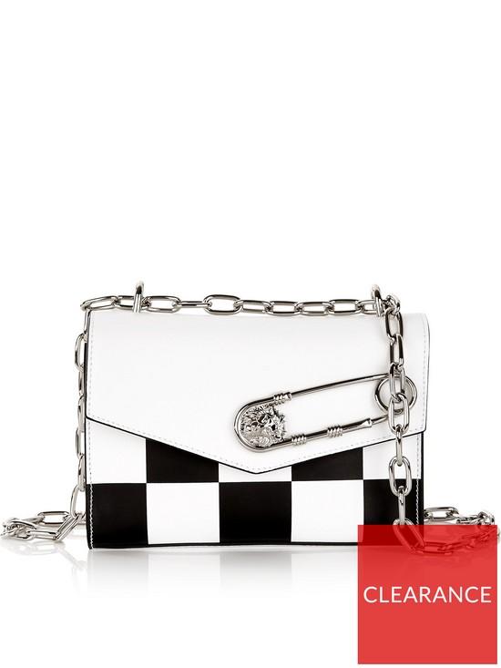 843ff72b7610 VERSUS VERSACE Checkboard Safety Pin Shoulder Bag - Black White ...
