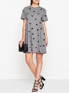 mcq-alexander-mcqueen-swallow-print-babydoll-short-sleeve-jersey-dress-grey