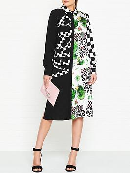 versus-versace-silk-tropical-patternednbspshirt-dress-black