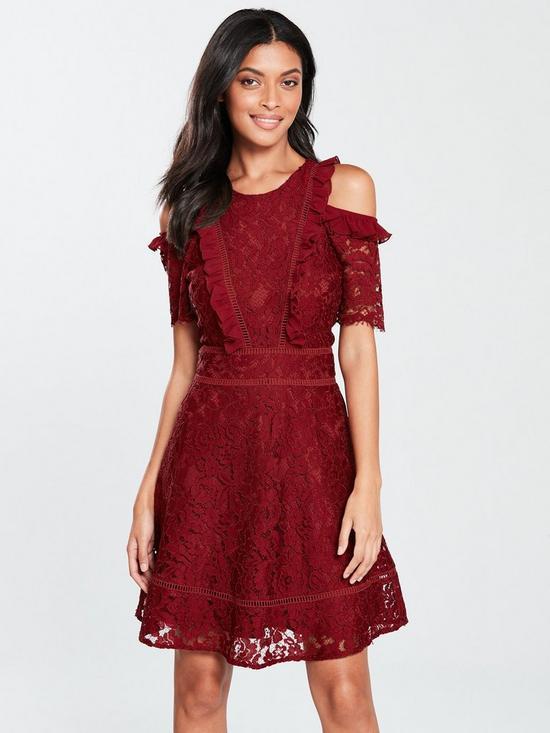 e9b09de28c9 Cold Shoulder Lace Skater Dress - Burgundy