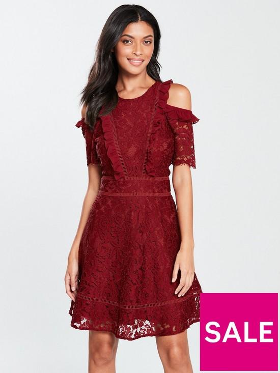 V by Very Cold Shoulder Lace Skater Dress - Burgundy  331f76abe6af