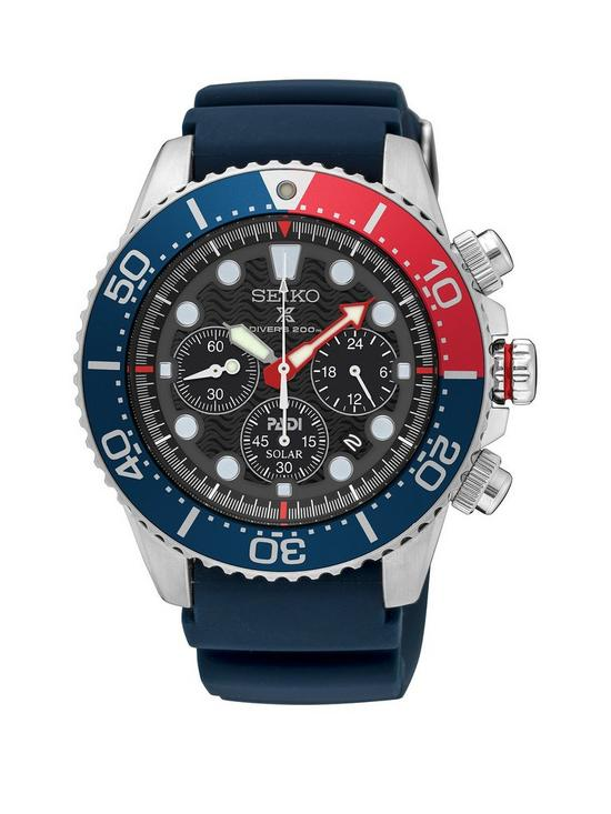 e1e79f72f Seiko Black Multi Dial with Red and Blue Detail Bezel and Blue Silicone Strap  Mens Watch
