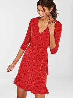 oasis-spot-ruffle-hem-wrap-dress-rednbsp