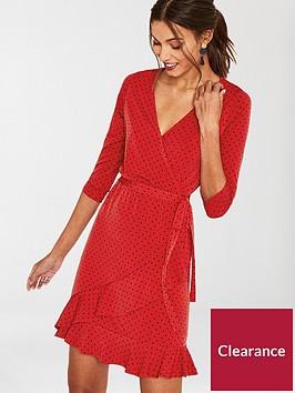 oasis-spot-ruffle-hem-wrap-dress-rednbsp