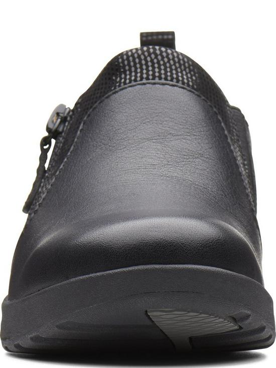 1f6bdcfb281 ... Clarks Un Adorn Zip Flat Shoe - Black. 7 people have looked at this in  the last couple of hrs.