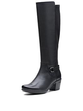 Clarks Clarks Wide Fit Emslie March Knee High Boot Black