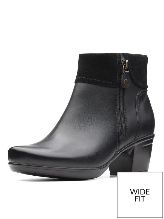 03657556a765 Clarks Wide Fit Emslie Twist Mid Heel Ankle Boot - Black