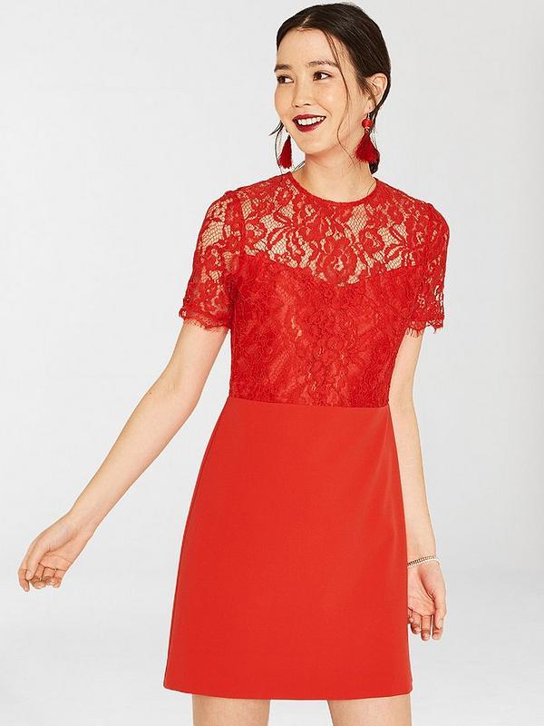 29777da3bcef Oasis Lace Bodice Shift Dress - Red - Orange | very.co.uk