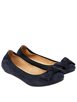 Accessorize Olivia Elasticated Suede Ballerina Shoes - Navy