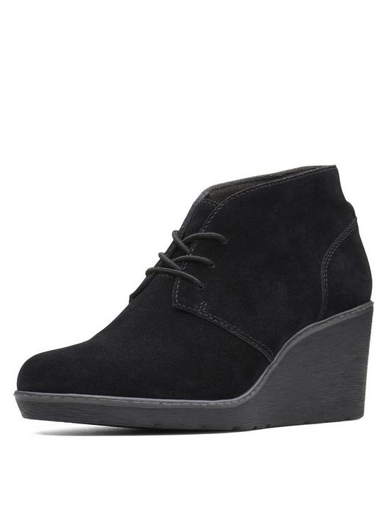 3573852f6e3 Clarks Hazen Charm Low Wedge Lace Up Ankle Boots - Black Suede ...