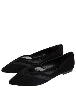 Accessorize Mesh Insert Point Ballerina Flats - Black