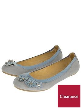 accessorize-elasticated-suede-flower-ballerina-shoes-grey