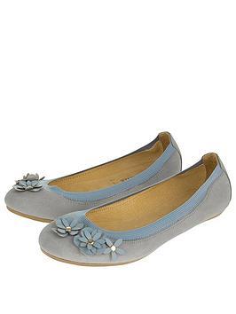 Accessorize Elasticated Suede Flower Ballerina Shoes - Grey