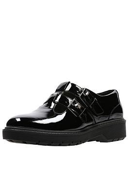 Clarks Alexa Agnes Buckle Low Wedge Shoe - Black Patent