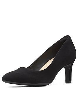 Clarks Clarks Calla Rose Mid Heel Court Shoe Black Suede