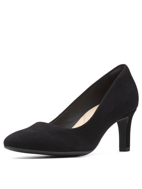 90011dca69ee Clarks Calla Rose Mid Heel Court Shoes - Black Suede