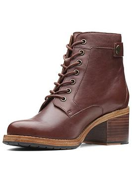 Clarks Clarkdale Tone Lace Up Heeled Ankle Boot - Mahogany Leather