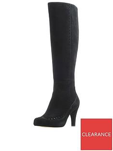 0432ab3d32b Clarks Dalia Sierra Knee High Boots - Black Suede