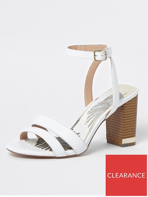 d38eab652f3 River Island River Island Wide Fit Block Heel Sandals- White