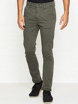 Adam Slim Fit Chino Trousers  Khaki