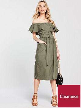 river-island-bardot-wasited-dress--khaki