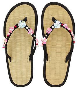 accessorize-embellished-flower-seagrass-flip-flop