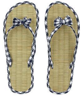 accessorize-gingham-seagrass-flip-flop