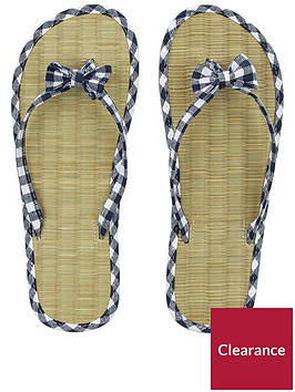 accessorize-gingham-seagrass-flip-flop