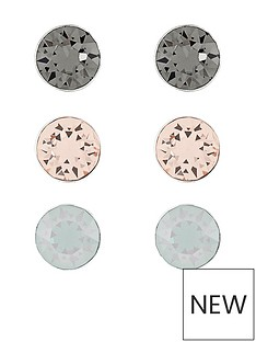 accessorize-sterling-silver-swarovski-stud-set-of-3-metallic
